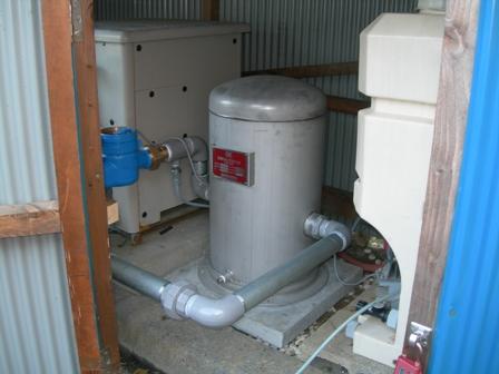 ミキシングタンク付き滅菌装置を設置 (井戸水の消毒)