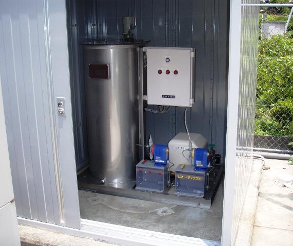 小型浄水ろ過装置を飲料水供給施設に設置(沢水用 小型ろ過機)